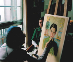 Eva malt Porträt